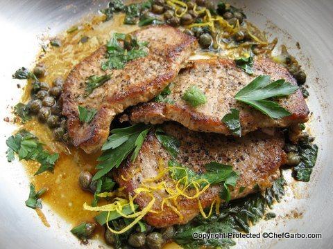 Gluten Free - Organic - Pork Chops Wiith Lemon Caper Butter